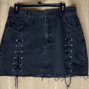 Too shop jean skirt with tie slits